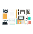 designer workplace with tools organization of vector image vector image