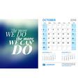 Desk Calendar for 2016 Year October Stationery vector image vector image