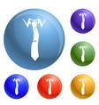 elegance tie icons set vector image
