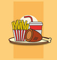 fast food chicken leg french fries and soda vector image