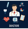 Flat medical icons with a doctor vector image