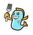funny fish holding fork seafood logo label vector image vector image