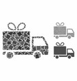 gift delivery mosaic icon humpy pieces vector image vector image