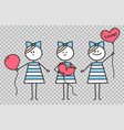 girl holds heart shaped balloon funny character vector image