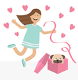 Girl jumping Gift box with puppy pug dog mops vector image