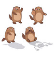 groundhog set 2 cartoon outlines vector image vector image