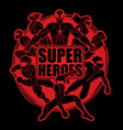 group of super heroes action vector image