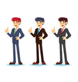 handsome young businessman color set holding up vector image