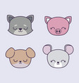 head cute piggy with group animals vector image vector image
