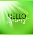 hello spring card lettering vector image