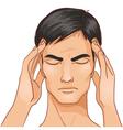 Ill man complaints about headache vector image