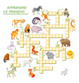 learn french crossword puzzle game with animals
