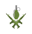 military emblem army logo crossed rifles and vector image