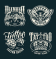 monochrome tattoo salon emblems set vector image vector image