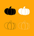 pumpkin set black and white icon vector image vector image