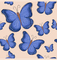 seamless pattern with blue butterfly vector image