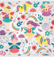 seamless pattern with magic forest fairies vector image vector image