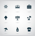 season icons set with suitcase t-shirt sunscreen vector image vector image