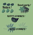 set of green colored summer stickers vector image