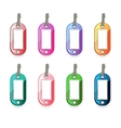 Set of multicolored plastic tags for different nee vector image