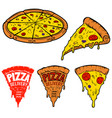 set of pizza isolated on white background design vector image vector image