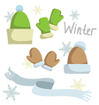 Set of winter clothing Hat mittens and scarf vector image vector image