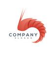 shrimp origami style logo vector image vector image