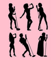 singer gesture silhouette vector image vector image