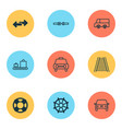 transportation icons set with railway rudder way vector image