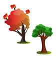 two autumn tree on white background vector image vector image