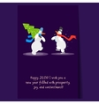 Two Funny Snowmen with a Christmas Tree Winter vector image vector image