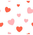 valentines day red hearts seamless pattern vector image