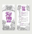 vintage fast food restaurant menu template vector image vector image
