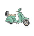 vintage green scooter sketch for your design vector image