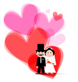 Red and Pink Hearts with Bride and Groom vector image
