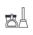 scoop bucket brush line icon sign vector image