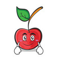 smile face cherry character cartoon style vector image