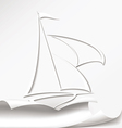 Yacht cuts the paper vector image