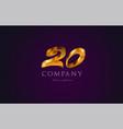 20 twenty gold golden number numeral digit logo vector image vector image