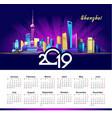2019 calendar shanghai neon vector image vector image