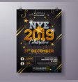 2019 new year party celebration poster template vector image vector image