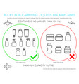 airport rules for liquids in carry on luggage vector image vector image