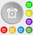 alarm clock icon sign Symbol on eight flat buttons vector image vector image