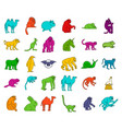 animals icon set color outline style vector image