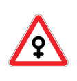 attention woman female sign on red triangle road vector image vector image