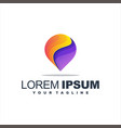awesome pin gradient logo design vector image vector image