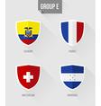 Brazil Soccer Championship 2014 Group E flags vector image vector image