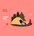 camping landing page template man character set vector image