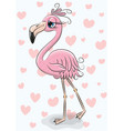 cartoon flamingo on a hearts background vector image