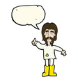 cartoon hippie man giving thumbs up symbol with vector image